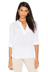 Bobi Gauze V Neck 3 4 Sleeve Top White