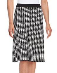 Nipon Boutique Houndstooth A Line Skirt Black Ivory
