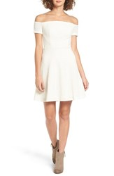 Lush Women's Off The Shoulder Textured Knit Dress Off White