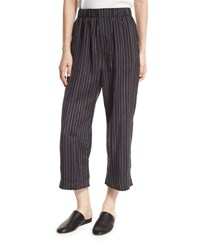 Vince Striped Slouchy Cropped Pull On Pants Multi