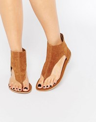 Park Lane Ankle Cuff Toepost Suede Flat Sandals Tan Suede