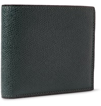 Valextra Pebbled Leather Billfold Wallet Green