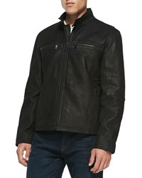 Andrew Marc New York Distressed Leather Jacket Navy