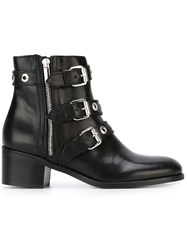 Diesel Black Gold Buckled Ankle Boots