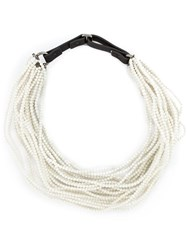Brunello Cucinelli Multi Strand Beaded Necklace White