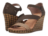 Toms Clarissa Wedge Olive Textile Wrapped Women's Wedge Shoes Brown