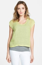 Women's Eileen Fisher Organic Linen U Neck Crop Top Honeydew