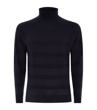 John Smedley Tonal Stripe Roll Neck Wool Sweater Male Navy