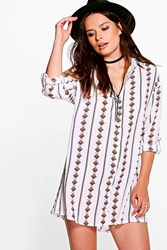 Boohoo Diamond Print Shirt Dress White
