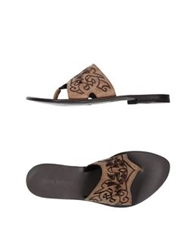 Gianni Barbato Thong Sandals Khaki