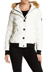 Levi's Faux Fur Trimmed Puffy Jacket White