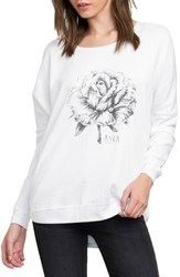 Rvca Women's La Petite Rose Fleece Pullover White