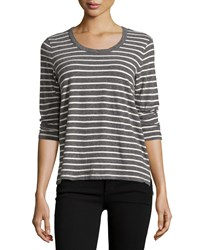James Perse 3 4 Sleeve Relaxed Tee W Stripes Heather Charcoal Natural