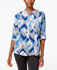 Alfred Dunner Crescent City Collection Printed Split Neck Top Multi