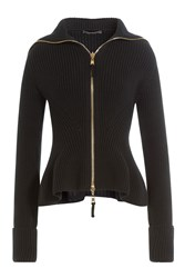 Alexander Mcqueen Zipped Wool Jacket With Peplum Black
