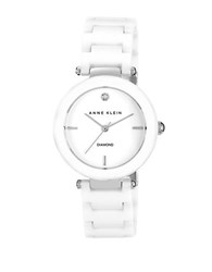 Anne Klein Ladies Round Ceramic Quartz Watch White