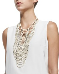River Stone Multi Strand Necklace Women's Vanilla Brunello Cucinelli
