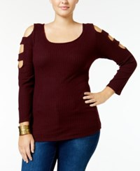 Ing Trendy Plus Size Cutout Shoulder Sweater Burgundy