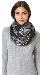 Mcq By Alexander Mcqueen Trompe L'oeil Beads Scarf Black White