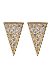 Candela 10K Yellow Gold Cz Triangle Stud Earrings Gray