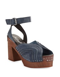 Free People Orion Leather Platform Heel Sandals Indigo Blue