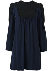 Victoria Beckham Two Tone Dress Blue