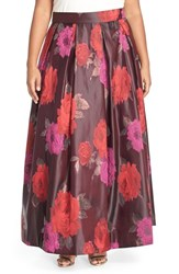 Plus Size Women's Eliza J Floral Jacquard Ball Skirt