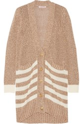 See By Chloe Open Knit Cotton Boucle Cardigan Tan