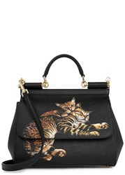 Dolce And Gabbana Sicily Black Cat Print Leather Tote