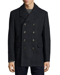 Ike Behar Double Breasted Cotton Peacoat Navy