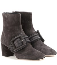 Miu Miu Embellished Suede Ankle Boots Grey
