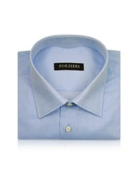 Forzieri Marcus Line Solid Light Blue Oxford Cotton Dress Shirt