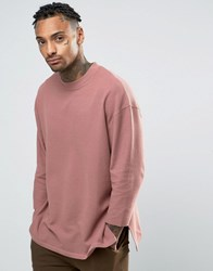 Asos Oversized Longline T Shirt In Waffle Fabric With 3 4 Sleeve Pink