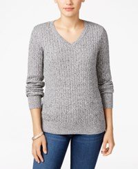 Karen Scott Marled Cable Knit Sweater Only At Macy's Winter White Marl