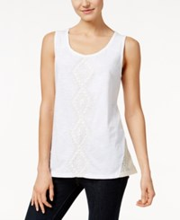 Styleandco. Style And Co. Embroidered Tank Top Only At Macy's Bright White