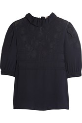 See By Chloe Ruffled Embroidered Georgette Blouse Navy