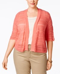 Ny Collection Plus Size Shadow Striped Cropped Cardigan