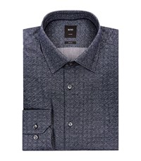 Boss Mini Speckle Cotton Shirt Male Blue