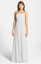 Women's Donna Morgan 'Stephanie' Strapless Ruched Chiffon Gown Dove Grey