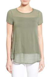 Women's Vince Camuto Chiffon Panel Short Sleeve Knit Top Sage