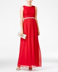 Speechless Juniors' Lace Embellished Gown Red
