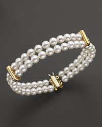 Bloomingdale's Double Row Cultured Freshwater Pearl Bracelet In 14K Yellow Gold