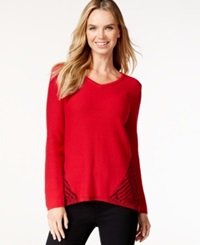 Style And Co. Contrast Knit V Neck Sweater Only At Macy's New Red Amore Deep Black