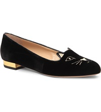 Charlotte Olympia Sleeping Kitty Velvet Slippers Blk Other