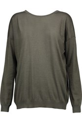 Brunello Cucinelli Bead Embellished Cashmere And Silk Blend Sweater Army Green