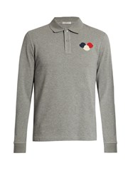Moncler Logo Applique Long Sleeved Polo Shirt Grey