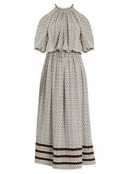 Talitha Leela Block Print Silk Crepe Dress Ivory