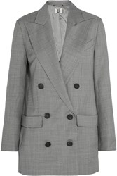 Topshop Unique Wycliffe Double Breasted Wool Twill Blazer Gray