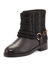 Ivy Kirzhner Bond Leather And Rope Ankle Boot Black