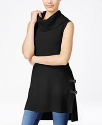 Amy Byer Bcx Juniors' High Low Cowl Neck Sweater Tunic Black